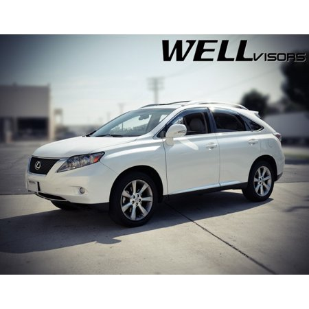 WellVisors Side Rain Guard Window Visors Deflectors With Chrome Trim For  10-15 Lexus RX350 & RX450h 2010 2011 2012 2013 2014 2015 10 11 12 13 14 15