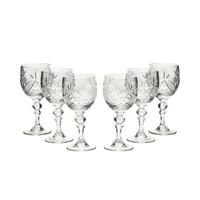 Neman Glassworks, 5-Oz Russian Crystal Wine Goblet Glasses, 6-pc Vintage Set