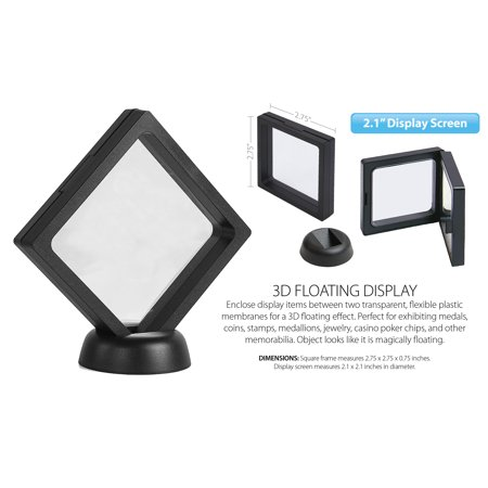 "3D Floating View Coin Display Frame Holder Box Case Medium Black (2.1"") - QTY 3 ()"