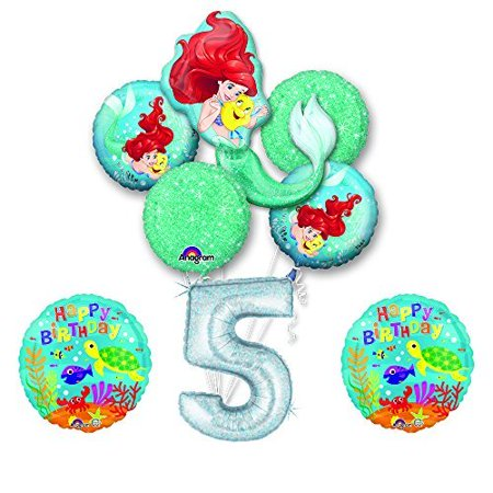 NEW! Ariel Little Mermaid Disney Princess Undersea 5th BIRTHDAY PARTY Balloon - Ariel Birthday Decorations