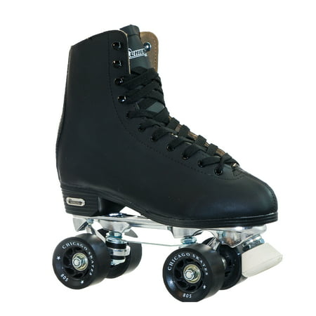 Leather In Line Skates - Chicago Men's Deluxe Quad Roller Skates Black Classic Rink Skate, Size 5