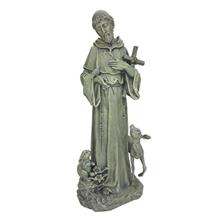 Napco St. Francis with Cross and Animals Stone Indoor/Outdoor Garden - St Francis Statue