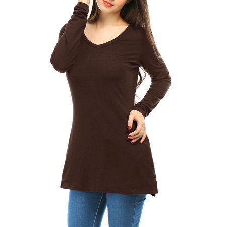 Polyester Leisure Suit (Woman V Neck Long Sleeves Side Split Tunic Top w Pockets Brown XS (US)