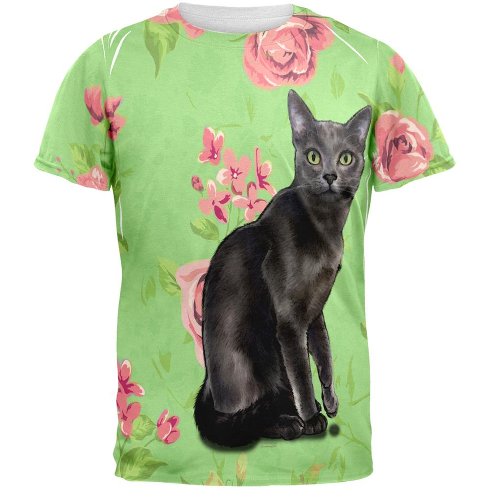 Novelty Green Eyed Grey Kitty All Over Adult T-Shirt