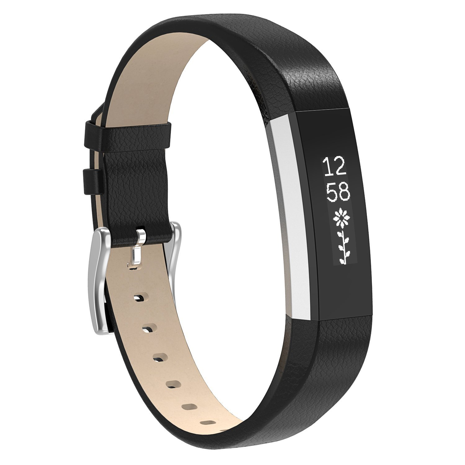 Newest Fitbit Fitness Watch Gear Elastic Silicone Wristband with Metal Clasp | Fitbit Alta & Alta HR Replacement Bracelet Strap Bands By Element Works - Black