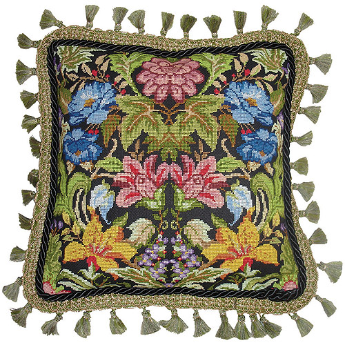 "Morris Style Needlepoint Kit, 14"" x 14"" Stitched In Floss"