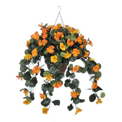 Charlton Home Faux Nasturtium Floral Arrangement in Square Planter