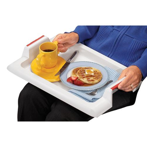 Extra Deep Lap Tray – Large Food Meal Serving Tray with Easy Grip Handles – White Plastic – Dishwasher Safe