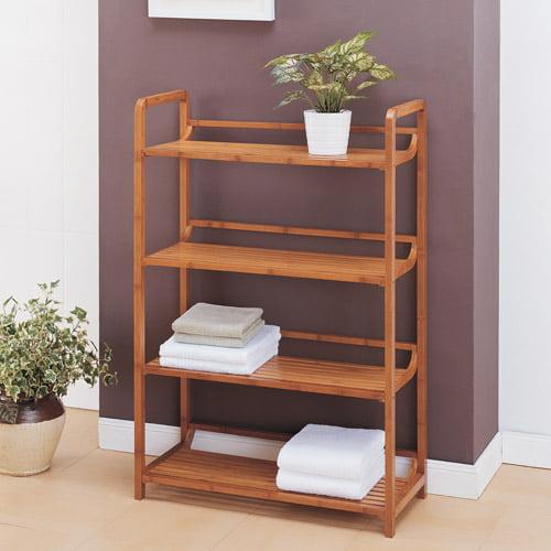 Neu Home Lohas Collection 4-Tier Shelf, Carbonized Bamboo