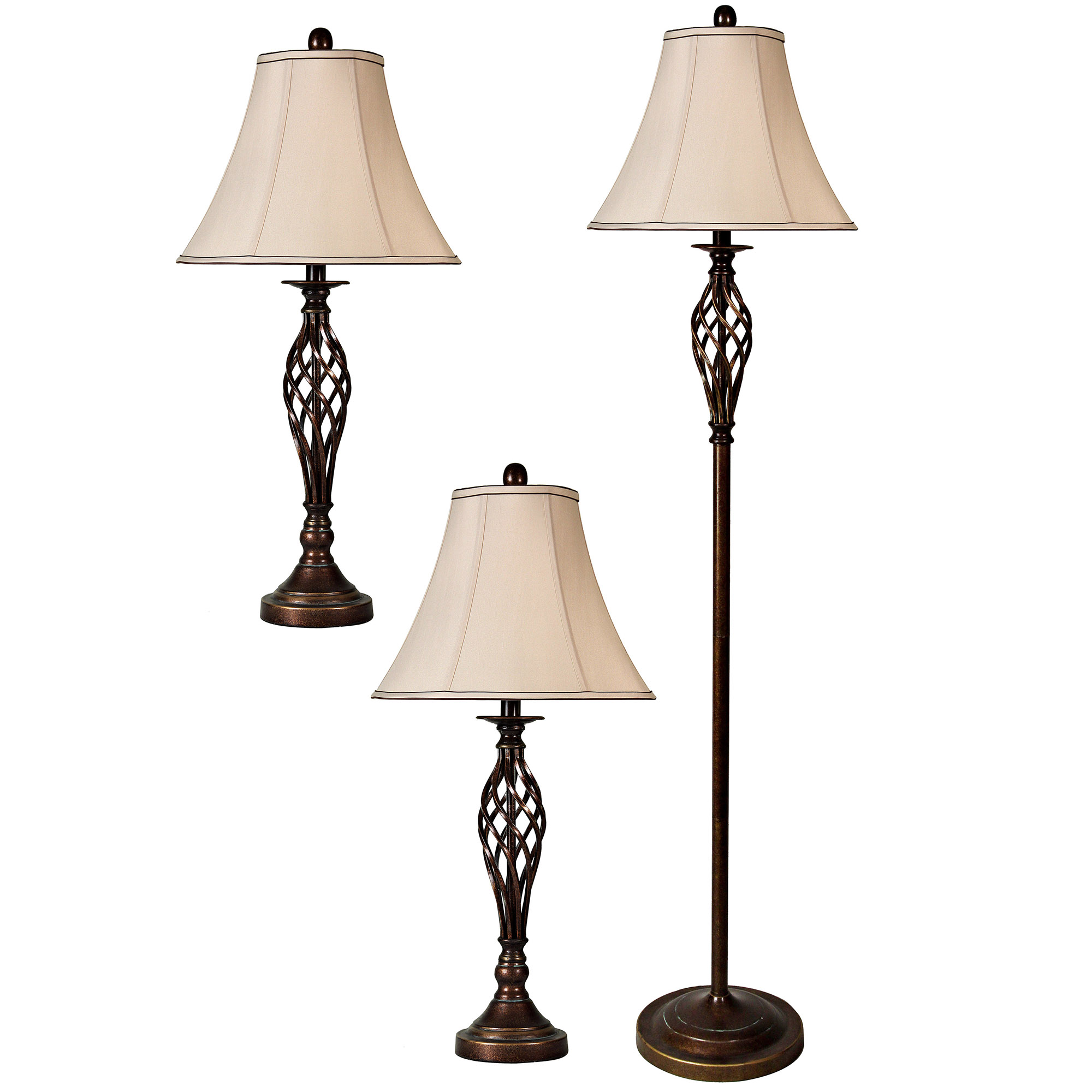 StyleCraft Barclay Brass 3 Piece Living Room Accent Table and Floor Lamp Set