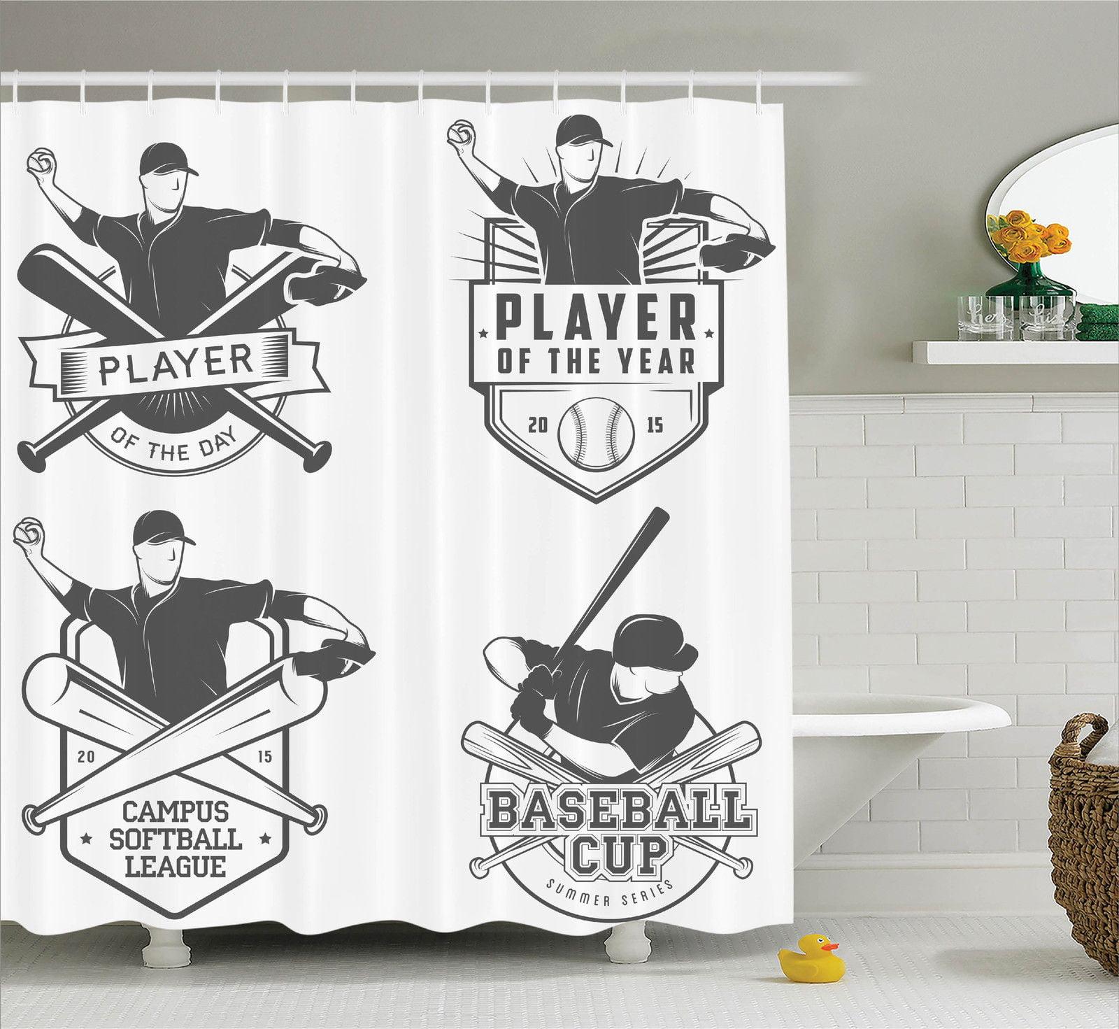 sports decor shower curtain set, vintage baseball and softball