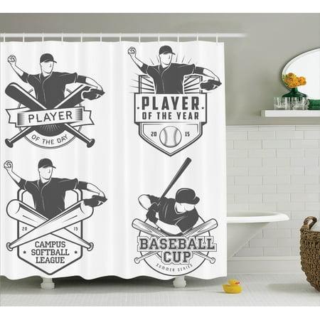 Sports Decor Shower Curtain Set Vintage Baseball And Softball Labels Badges Championship Winner