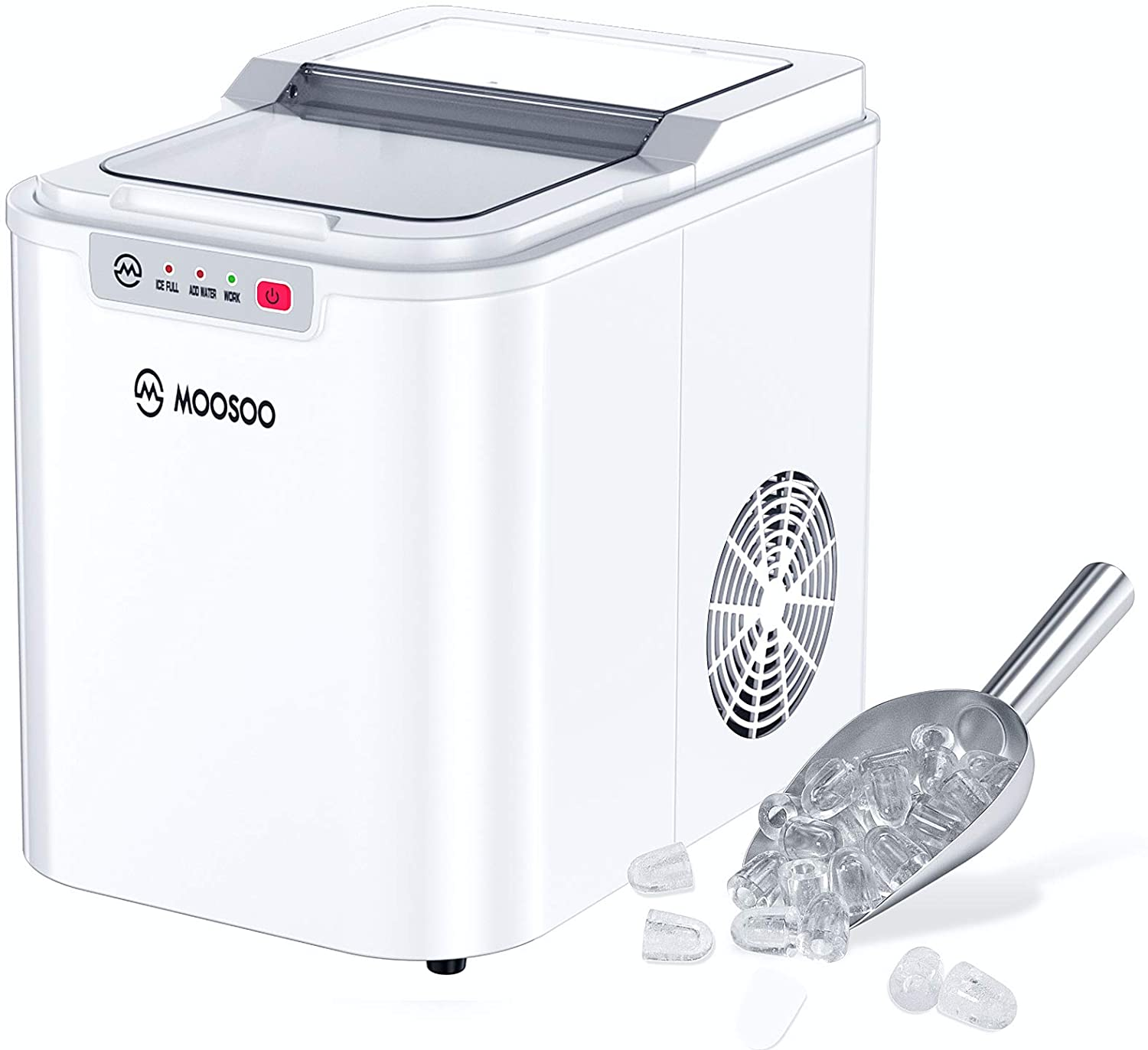 Moosoo Portable Ice Maker Countertop 9 Ice Cubes Ice Maker Machine 26lbs 24h With Automatic Cleaning Function White Walmart Com Walmart Com
