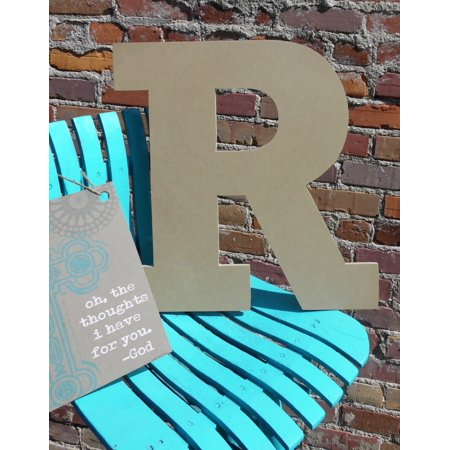 Wooden Hanging Letters Block (Wood Letter, Block Wooden Letter R 18'', Unfinished Wall Hanging )
