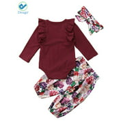 Deago 3 pcs Baby Girls Long Sleeve Tops & Pants Set Newborn Infant Toddler Floral Printed Headband Clothes (0-6 Months)