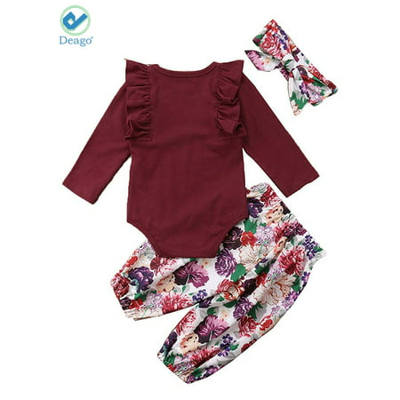 3c326cbcd Deago - Deago 3 pcs Baby Girls Long Sleeve Tops & Pants Set Newborn Infant  Toddler Floral Printed Headband Clothes (0-6 Months) - Walmart.com