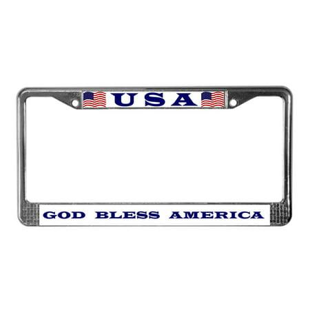 CafePress - God Bless America - Chrome License Plate Frame, License Tag Holder