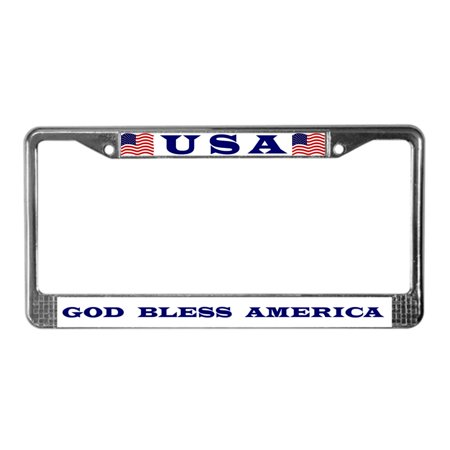CafePress - God Bless America - Chrome License Plate Frame, License Tag (Tags Plate Frame)