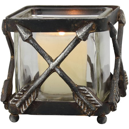 Small Metal Arrow Votive Holder with Glass Insert