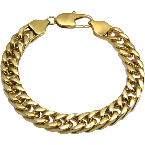 Men's Yellow Stainless Steel Curb Bracelet, 8.75""
