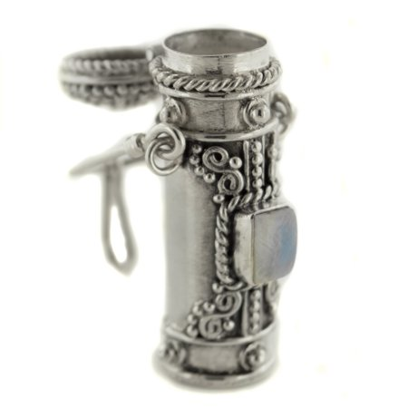Tall Sterling Silver Moonstone, Amethyst, Garnet, or Peridot Poison Bottle Pillbox Urn Pendant