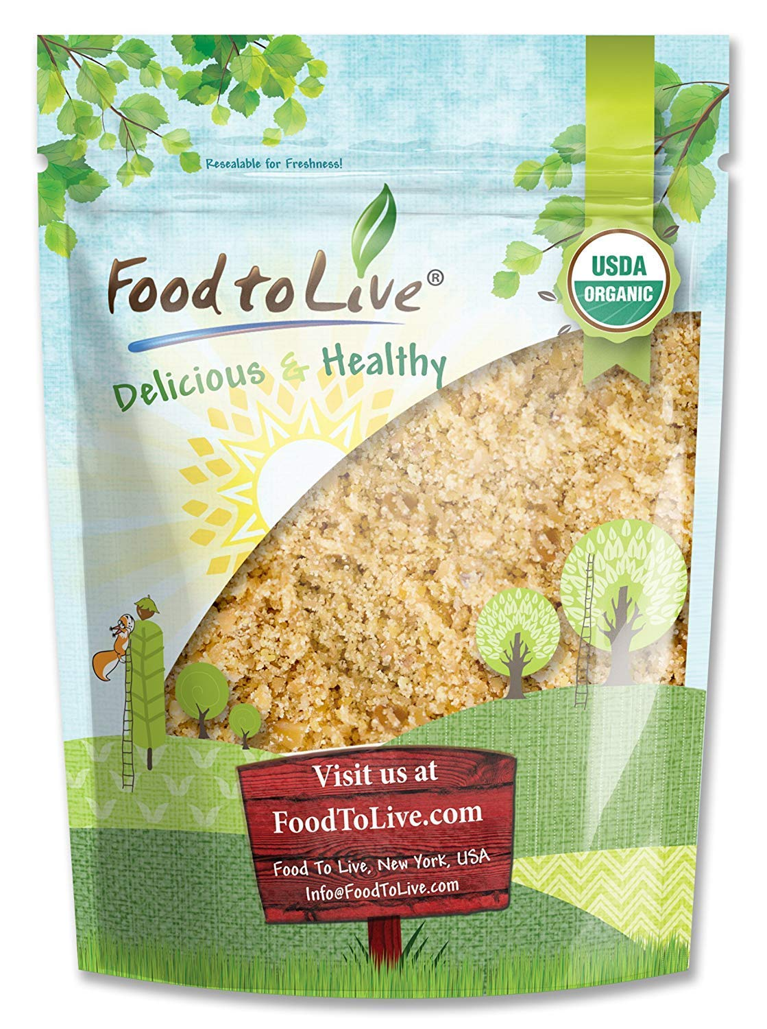 Food To Live Organic Ground Golden Flaxseed (Cold-Milled, Raw Flax Seeds Powder / Meal / Flour, Non-GMO, Bulk) (4 Pounds)