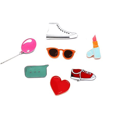 Brooches For Dresses - 7pcs Lovely School Brooch Pins Unique Alloy Breastpin Jewelry Gift For Dress Decoration (White Shoes & Balloon & Glasses & Lipstick & Silent Sign & Grey Shoes & Big Lipstick)