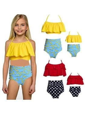 Women High Waist Bikini Bandage Plus Size Family Swimwear Mother Child Swimsuit