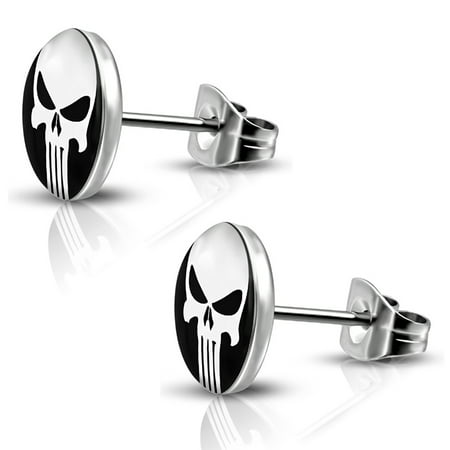 Steel Circle Earrings (Stainless Steel Punisher Skull Round Circle Button Stud Post Earrings )