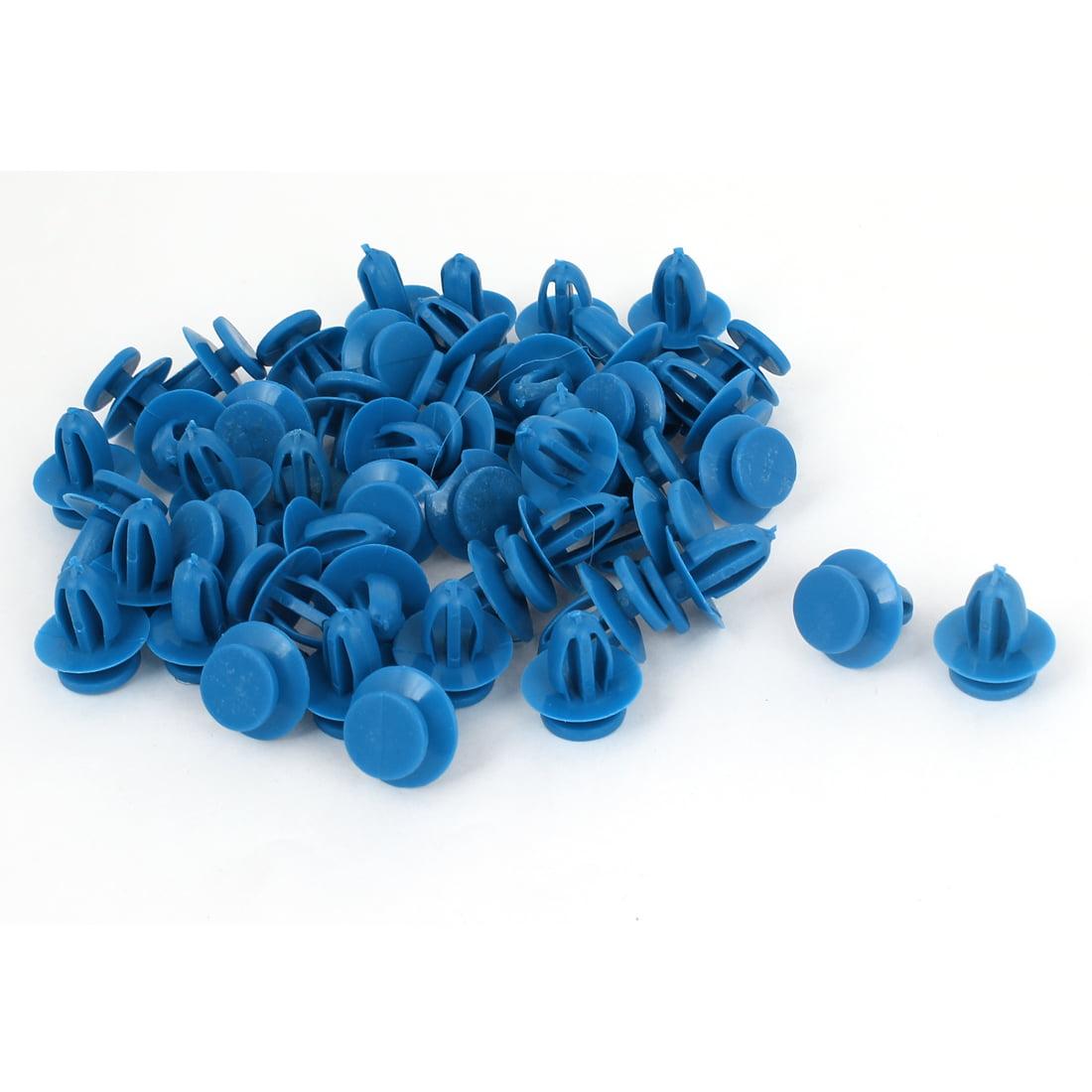 Unique Bargains 50 Pcs Blue Plastic Rivet Trim Fastener Moulding Clips 9mm x 14mm x 17mm