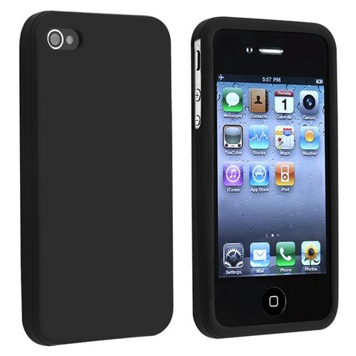 Insten Silicone Skin Case For Apple iPhone 4 / 4S , Black