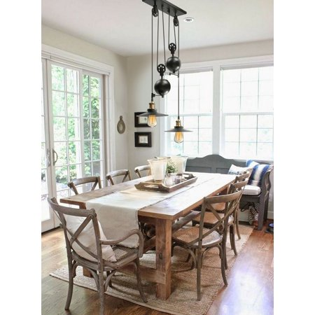 KingSo Two-Light Pulley Pendant Light, Kitchen Island Light Adjustable Industrial Rustic Chandelier Farmhouse Vintage Ceiling Lights Fixture for Kitchen Island Dining Room Foyer