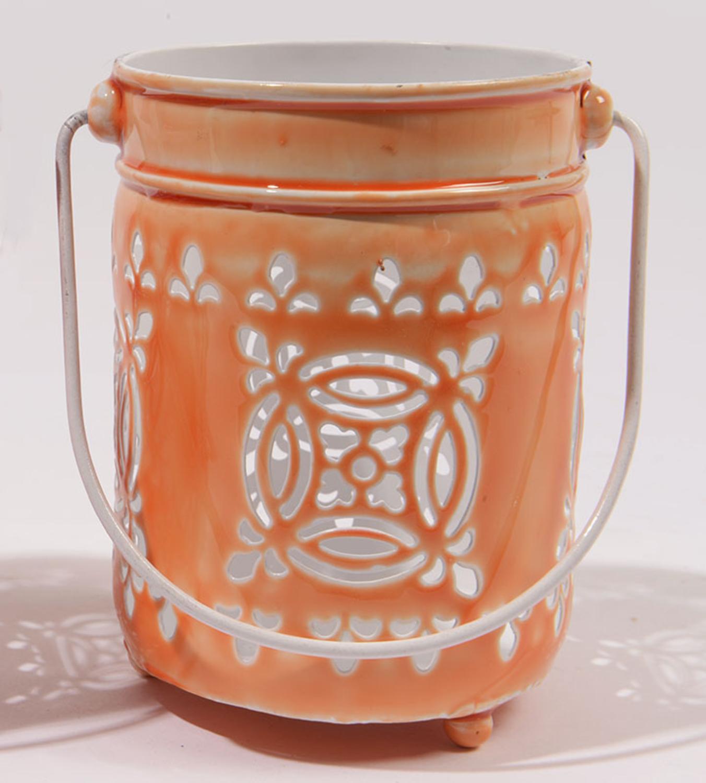 """7.5"""" L'Eau de Fleur Bright Orange Cut-Out Votive Candle Lantern"""