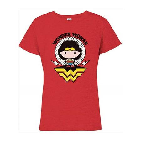 Wonder Woman Big Girls' Glitter Tee, Red Chibi S(6/6x)