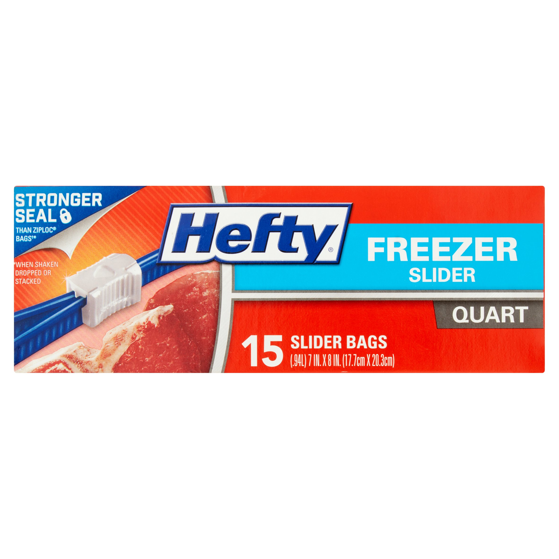 Hefty Slider Zipper Freezer Bags, Quart, 15 Ct