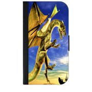 Dragon in the Sky - Wallet Style Cell Phone Case with 2 Card Slots and a Flip Cover Compatible with the Apple iPhone 4 and 4s Universal