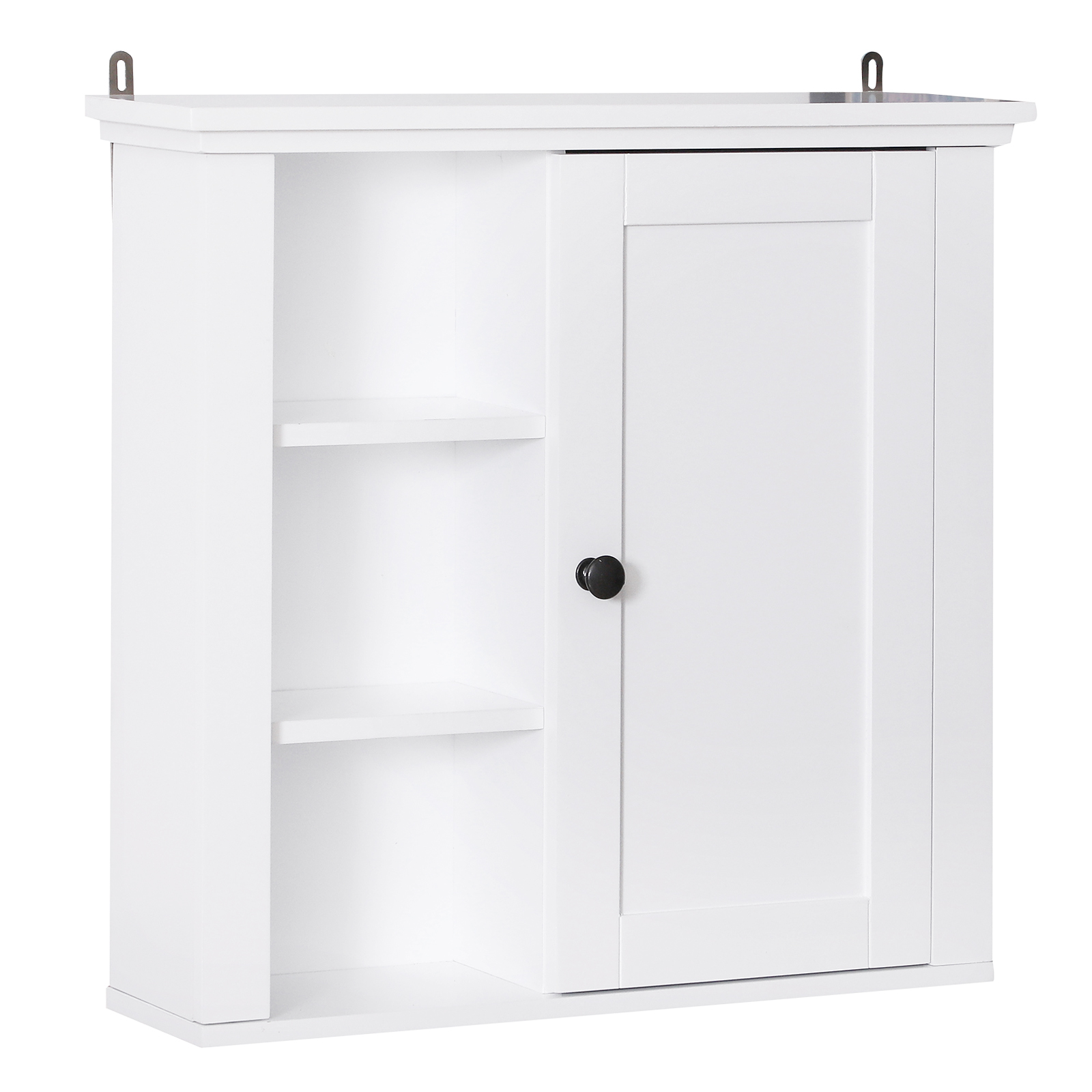 "homcom 21"" wood wall mount bathroom linen storage cabinet"