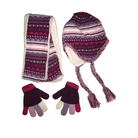 ad92d951438 Girls Light Purple White Faux Fur Peruvian Winter Beanie Trapper Hat Scarf  Glove - Walmart.com
