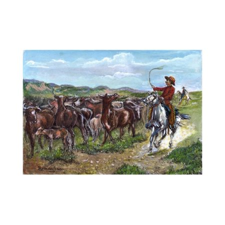 Engraving of Cowboys & Cattle by Frederick Remington Print Wall