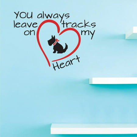 Custom Decals You always leave tracks on my heart Wall Art Size: 12 Inches x 12 Inches Color: Multi - Multi Color Custom Design