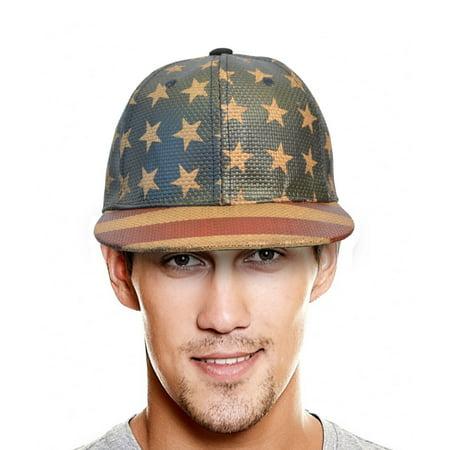 Terra Cool Mens Baseball Cap Hat USA American Flag Printed Flat Bill Buckle Closure - Usc Hats