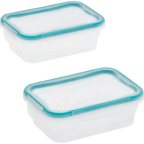 Snapware Total Solution 2-Piece Plastic 3-Cup Rectangle Containers, Clear