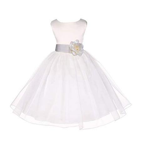 30ec258ec45 Ekidsbridal Ivory Satin Bodice Organza Flower Girl Dress Easter Summer  Dresses Communion Dress Baptism Dress Toddler Girl Dresses Birthday Girl  Dress Junior ...