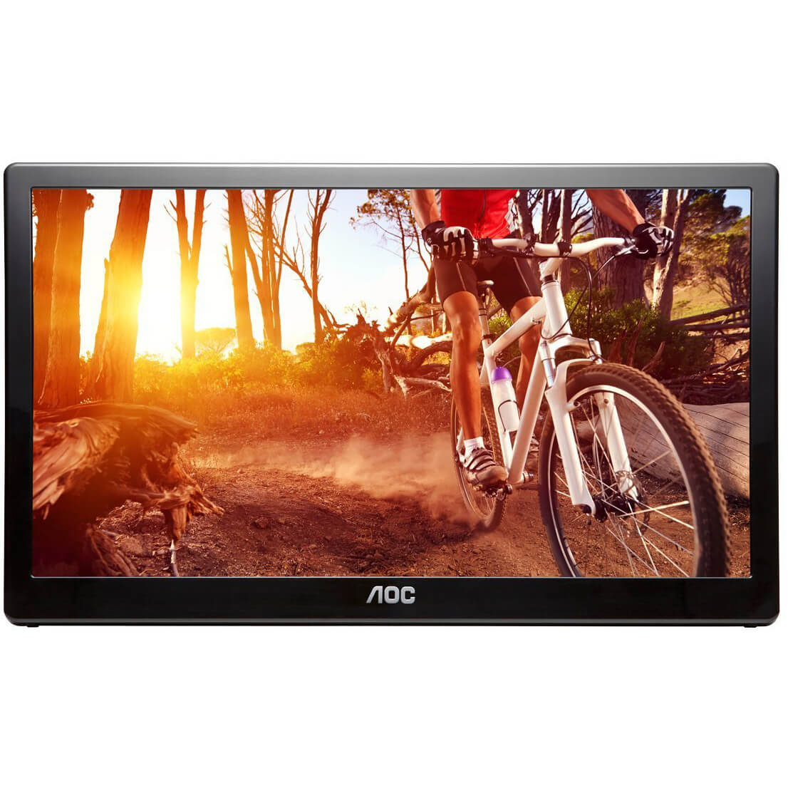 "Refurbished 16"" AOC E1659FWU Portable Ultra-Slim LED LCD Monitor, USB 3.0 Powered - Black"