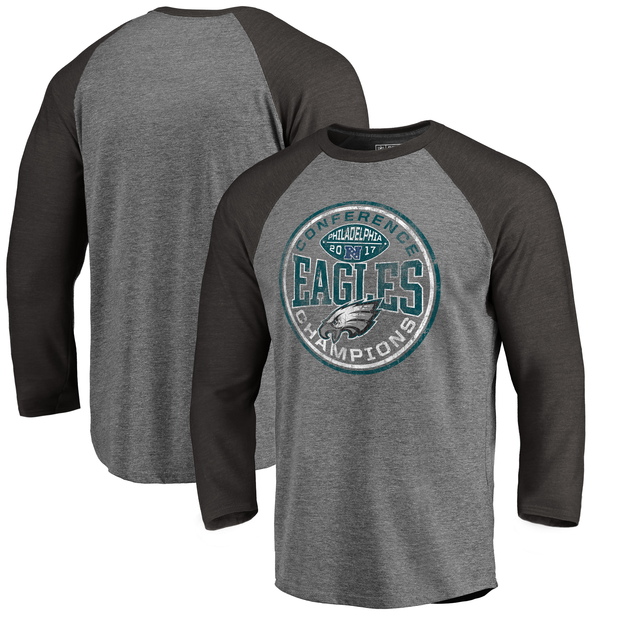 Philadelphia Eagles NFL Pro Line by Fanatics Branded 2017 NFC Champions Twins Tri-Blend 3/4-Sleeve Raglan T-Shirt - Heather Gray