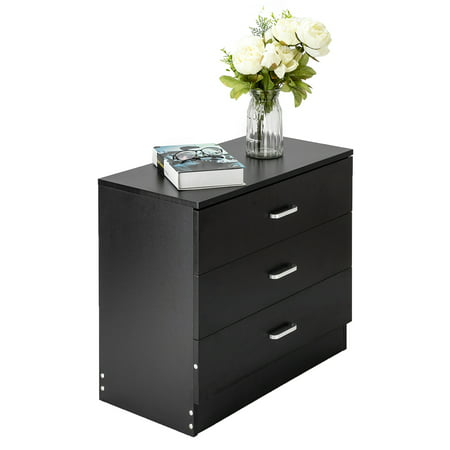 Black Dresser, 3 Drawer Wood File Cabinets for Bedroom, Bathroom, Closet, Entryway, Hallway, Nursery Room, Vertical Dresser Storage Tower Sturdy Wood Drawers, Fully Assembled, Black, K315 ()