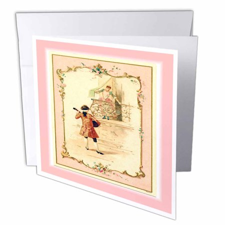 3dRose Vintage Romance Serenade Scene, Greeting Cards, 6 x 6 inches, set of 6
