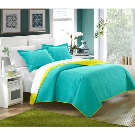 Chic Home 7-Piece Ressa Reversible Color Block Modern Design Quilt with Shams -