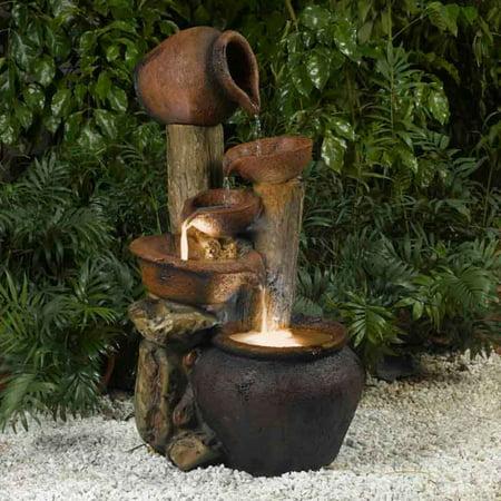 Jeco Pentole Pot Indoor/Outdoor Fountain with Illumination ...