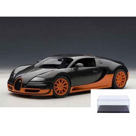 Diecast Car & Display Case Package - Bugatti Veyron Super Sport, Carbon Black - Auto Art 70936 - 1/18 Scale Diecast Model Toy Car w/Display